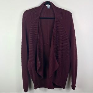 Old Navy maroon heavy cable knit open cardigan